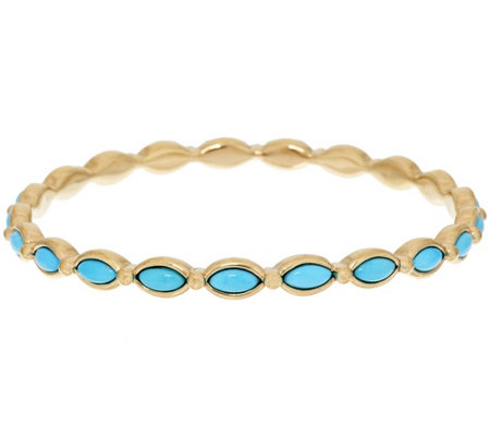 """As Is"" 14K Gold Sleeping Beauty Turquoise Round Bangle"