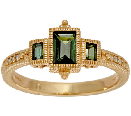 Judith Ripka 14K Gold Three Stone Green Tourmaline Ring