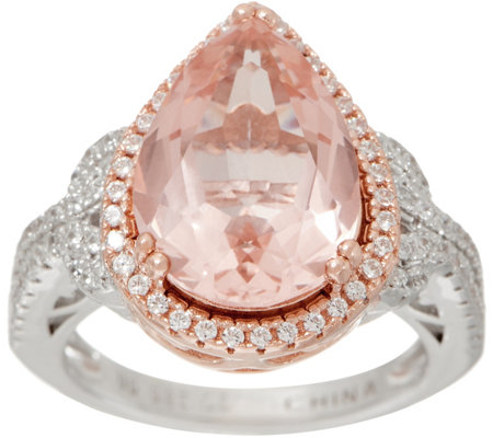 Diamonique and Simulated Morganite Pear Cut Ring, Sterling