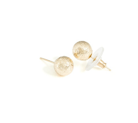 14K Gold ClickSecure Textured Ball Stud Earrings, Boxed