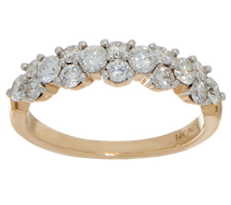"""As Is"" 98 Facet Diamond Band Ring, 1.00 cttw, 14K by Affinity"