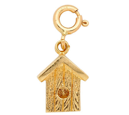 14K Yellow Gold 3-D Bird House Charm