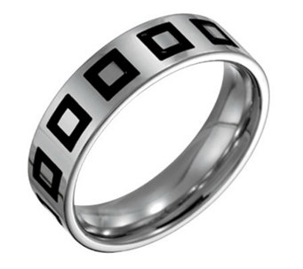 Forza Men's 6mm Steel w/ Enamel Flat BrushedRing - J109518