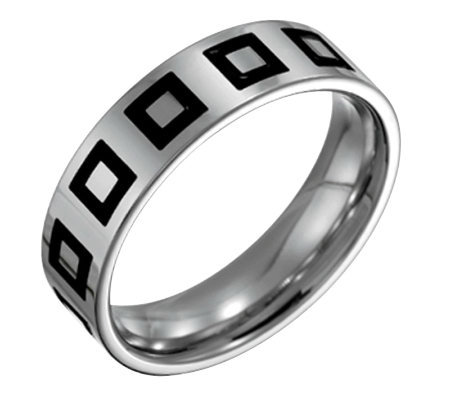 Forza Men's 6mm Steel w/ Enamel Flat BrushedRing