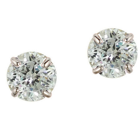 Diamonique 3.50 ct tw 100-Facet Stud Earrings,1 4K Gold