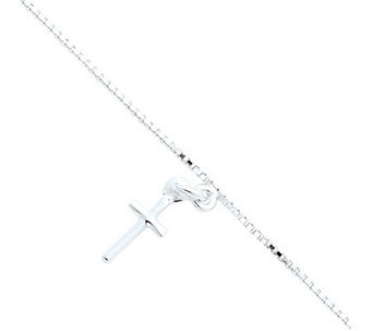 "Sterling 10"" Solid Polished Cross on Box ChainAnklet - J111418"
