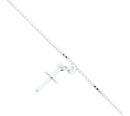 "Sterling 10"" Solid Polished Cross on Box ChainAnklet"