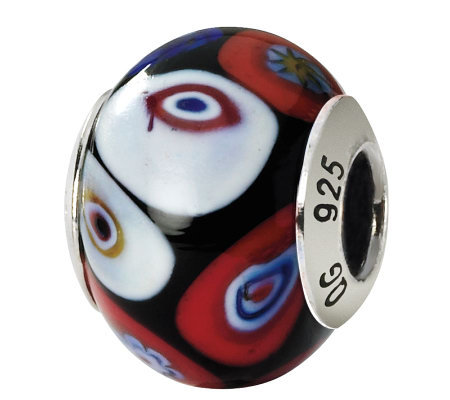 Prerogatives Sterling Black Multi Italian Murano Glass Bead