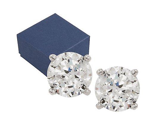 Diamonique 100 Facet 2 00 Cttw Stud Earrings Platinum Clad Qvc Com