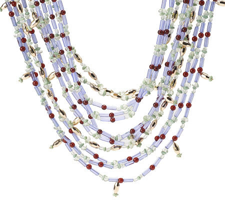 Fern Mallis Multi-color Bead Nugget Necklace