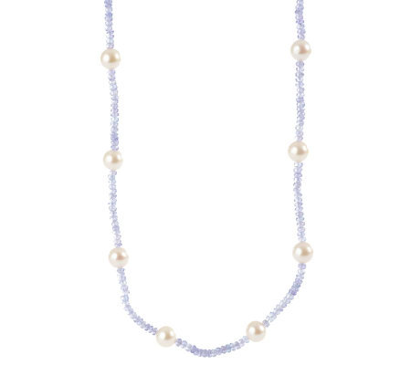 """As Is"" Sterling Tanzanite Bead & Cultured F/W Pearl Necklace"