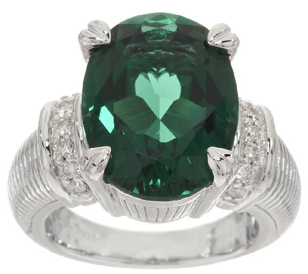 Judith Ripka Sterling 8.00ct Green Synthetic Quartz & Diamonique Ring