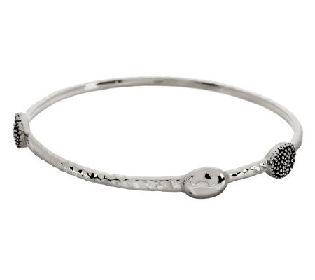 Michael Dawkins Sterling Faceted Bangle w/ Granulation & Oval Stations