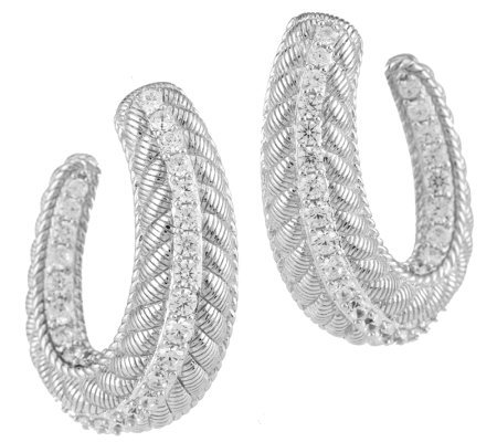 Judith Ripka Sterling 1.95ct Diamonique and Textured Half Hoop Earrings