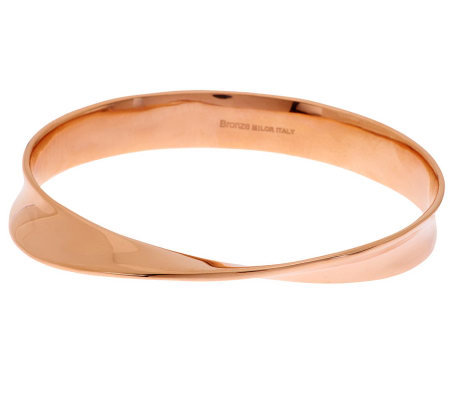"""As Is"" Bronzo Italia Large Solid Sculpted Twist Design Oval Bangle"