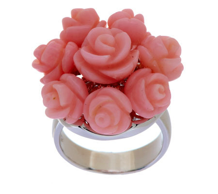 """As Is"" Carved Pink Coral Floral Design Sterling Ring"