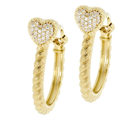 Judith Ripka Sterling & 14k Clad Diamonique Hoop Earrings