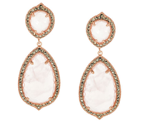 """As Is"" Rose Quartz & Marcasite Sterling Bold Drop Earrings"