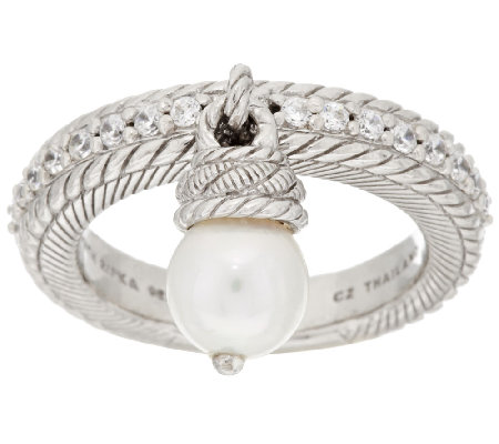 Judith Ripka Sterling Cultured Pearl & Diamonique Charm Ring