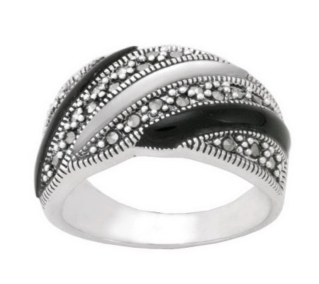Suspicion Sterling Marcasite Onyx & Mother-of-Pearl Band Ring