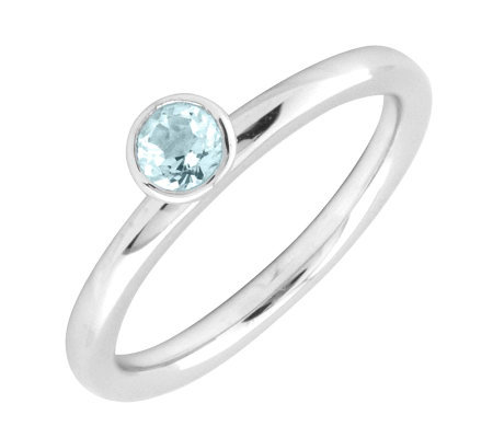Simply Stacks Sterling 4mm Aquamarine Sol. Stackable Ring