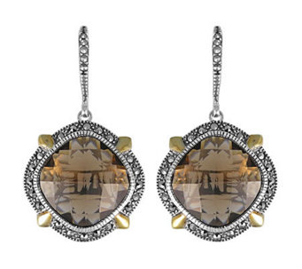 Suspicion Sterling Marcasite & Smoky Quartz Drop Earrings - J308518