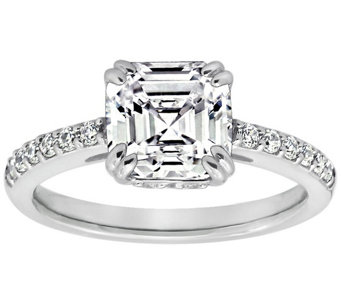 Diamonique 2.60 cttw Asscher Cut Ring, Platinum Clad - J309718