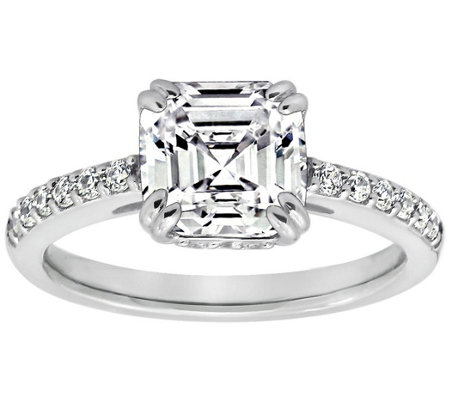 Diamonique 2.60 cttw Asscher Cut Ring, Platinum Clad