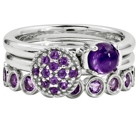 Simply Stacks Sterling Amethyst Ring Set