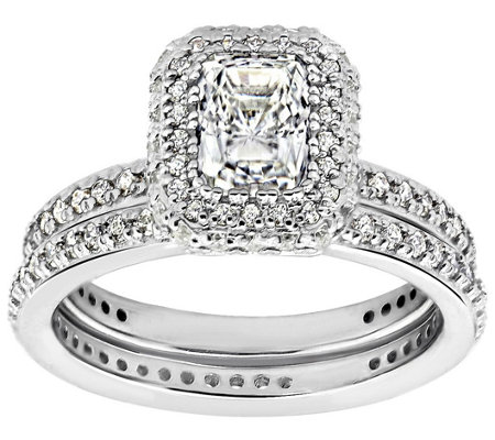Diamonique 2.15 cttw 2 Pc. Bridal Ring Set, Platinum Clad