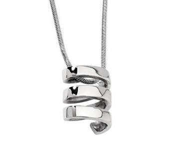 "Stainless Steel Corkscrew Pendant with 18"" Chain - J311218"