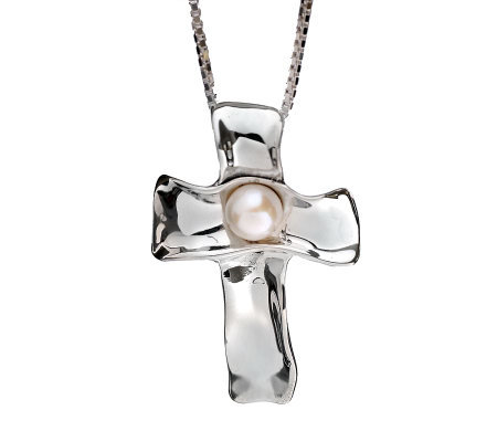 Hagit Gorali Sterling Cultured Freshwater PearlCross Pendant