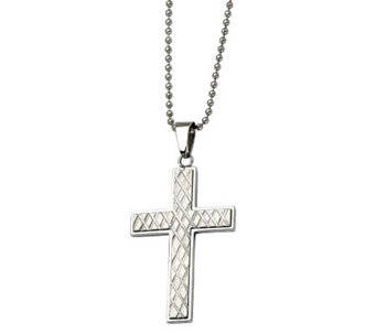 "Forza Stainless Steel Textured Cross Pendant w/24"" Chain - J313118"