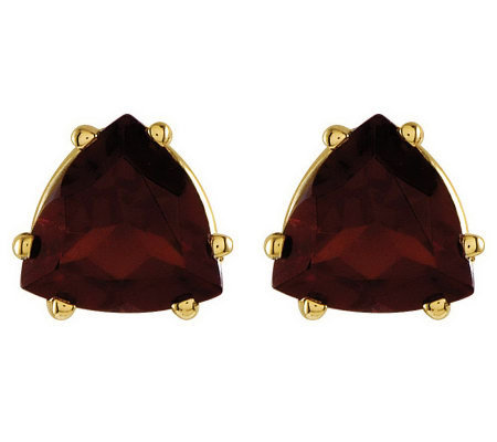 Large Trillion-Cut Gemstone Stud Earrings, 14K Gold
