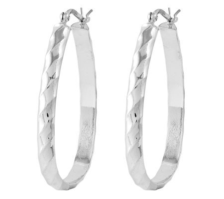 "Sterling 1-3/8"" Polished & Textured Oval Hoop Earrings"