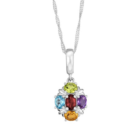 Sterling 1.30 ct tw Multi-Gemstone Pendant withChain