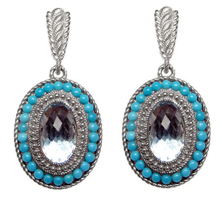 Judith Ripka Sterling Blue Topaz and TurquoiseEarrings