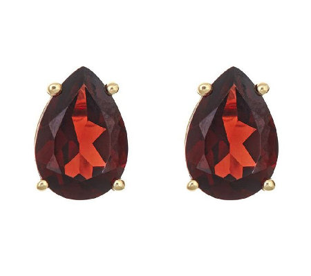 Pear-Shaped Gemstone Stud Earrings, 14K Gold