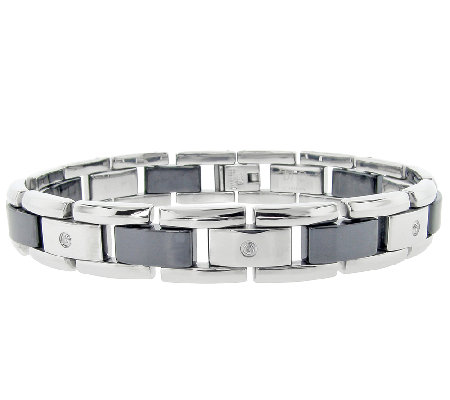 Stainless Steel Men's Bracelet with Ceramic Links