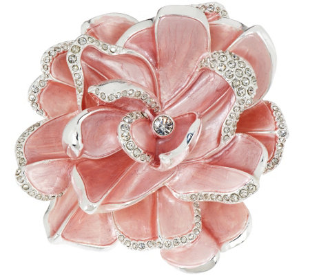 joan rivers limited edition pink pave' gardenia pin  page   qvc, Beautiful flower