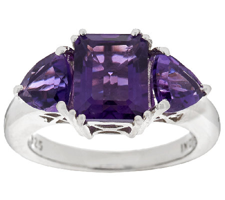 Three Stone Amethyst Sterling Silver Ring, 3.40 cts