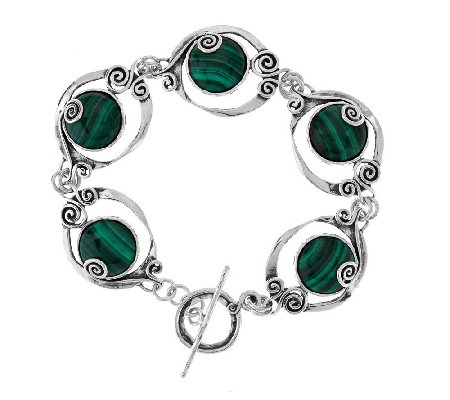 """As Is"" Or Paz Sterling Gemstone Scroll Design 7-1/4"" Bracelet"