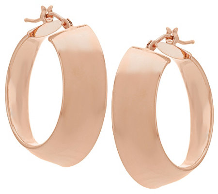 "Vicenza Gold 1"" Polished Mirror Round Hoop Earrings, 14K"