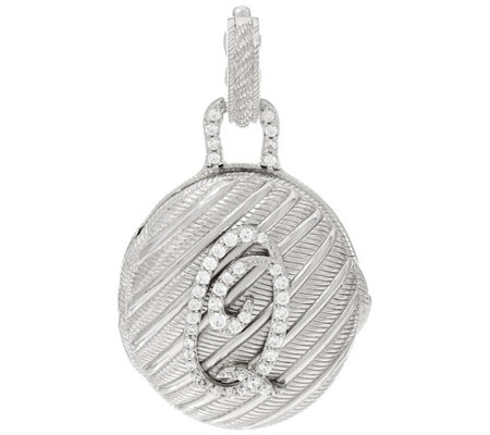Judith Ripka Sterling Silver Diamonique Initial Locket Enhancer