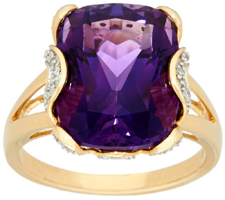 Uruguayan Amethyst & Diamond Bold Ring, 14K Gold 8.00 cts