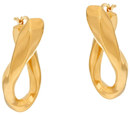 """As Is"" Veronese 18K Clad 1-1/4"" Elongated Twist Hoop Earrings"