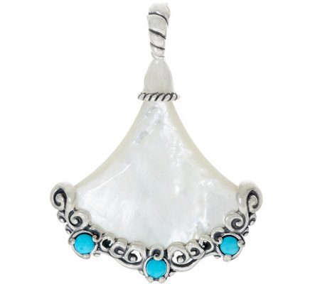 Carolyn Pollack Sterling Silver Mother-of-Pearl & Turquoise Enhancer