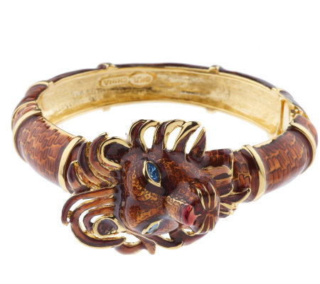 """As Is"" Kenneth Jay Lane's Regal Lion Bangle Bracelet"