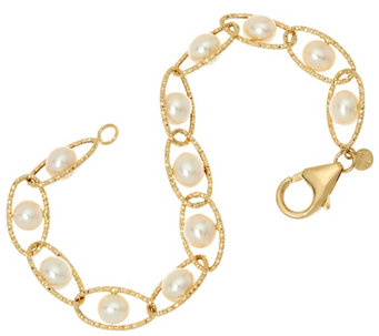 "Honora 14K Gold Cultured Pearl 6.0mm Twist Link 6-3/4"" Bracelet, 3.7g - J329118"