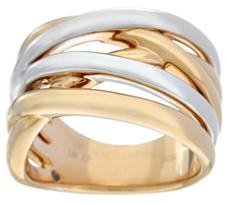 14K Gold Polished Two-Tone Highway Design Ring